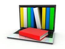 Computadora portátil y libros ilustración del vector