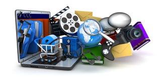 Computadora portátil y multimedia ilustración del vector