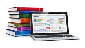 Computadora portátil y pila de libros del color stock de ilustración