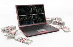 Computadora portátil y pilas de los dólares 3d stock de ilustración