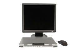 Computadora portátil y ratón planos del cierre del monitor Foto de archivo