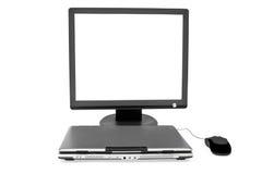 Computadora portátil y ratón planos del cierre del monitor Imagen de archivo libre de regalías