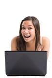 Computadora portátil asiática de la mujer Foto de archivo libre de regalías