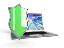 Computadora portátil protegida Imagen de archivo
