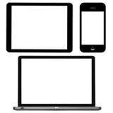Computadora portátil, tablilla digital y teléfono Imagen de archivo libre de regalías