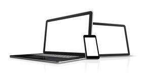 Computadora portátil, teléfono móvil, PC digital de la tablilla Foto de archivo libre de regalías
