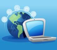Computadora portátil y conexión a internet Fotografía de archivo libre de regalías