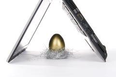 Computadora portátil y huevo de oro Imagen de archivo libre de regalías