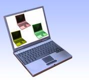 Computadoras portátiles conectadas imágenes de archivo libres de regalías
