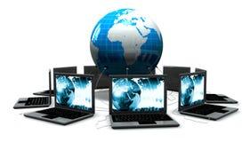 Computadoras portátiles en todo el mundo ilustración del vector