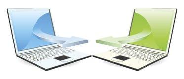 Computadoras portátiles que comunican Fotografía de archivo