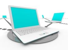 Computadoras portátiles sociales de la red ilustración del vector