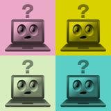 Computadoras port?tiles con las caras Foto de archivo libre de regalías