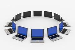 Computadoras portátiles alrededor del? Fotografía de archivo libre de regalías