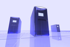 Computadores azuis Fotografia de Stock Royalty Free