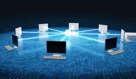 Computadores conectados à rede Conceito do Internet e da coligação 3D rendeu a ilustração ilustração royalty free
