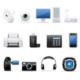 Computadores e ícones da eletrônica ilustração stock