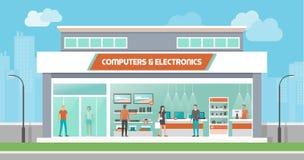 Computadores e loja da eletrônica ilustração do vetor