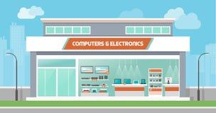 Computadores e loja da eletrônica ilustração royalty free