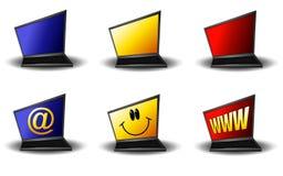 Computadores portáteis abstratos dos desenhos animados Imagens de Stock