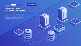 Computation of big data center, information processing, database. internet traffic routing, server room rack isometric