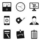 Computation icons set, simple style. Computation icons set. Simple set of 9 computation vector icons for web isolated on white background Royalty Free Stock Photography