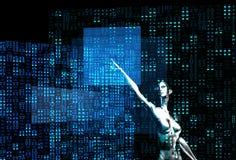 Computazione d'argento della ragazza del robot Fotografia Stock Libera da Diritti