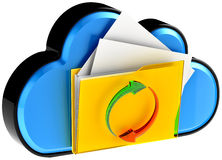 Computazione della nuvola e documenti digitali di circolazione illustrazione di stock