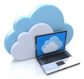 Computazione e computer portatile della nuvola Fotografia Stock Libera da Diritti