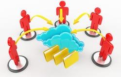 Computazione e rete sociale della nuvola Fotografie Stock Libere da Diritti