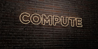 COMPUTE -Realistic Neon Sign on Brick Wall background - 3D rendered royalty free stock image Stock Images