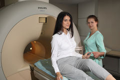 Computed tomography lab.Computerized Axial Tomography CAT. Young woman having an magnetic resonance imaging. Stock Photo