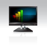 Computer-Überwachungsgerät mit Geschäfts-Diagramm - Vektor Stockfotografie