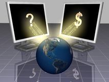 Computer. Method of wealthy by computer and world Royalty Free Stock Photo