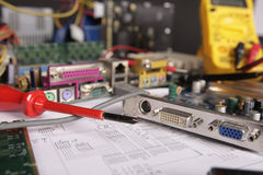 Computer. Part, VGA Card and Mother Board in Repair Stock Photography