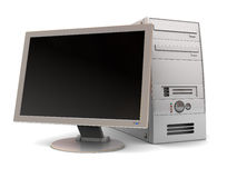 Computer. 3d illustration of desktop computer over white background Royalty Free Stock Photography