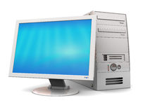 Computer. 3d illustration of desktop computer over white background Royalty Free Stock Images