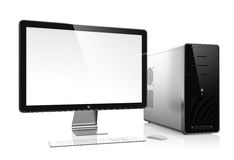 Computer. 3D illustration of modern computer isolated on white background Royalty Free Stock Photos