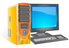 Computer. A desktop personal computer with crt monitor Stock Photo