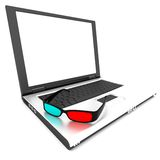 Computer and 3D glasses Royalty Free Stock Photography