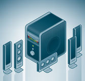 Computer 5+1 Home Cinema Speakers. Is a part of the Isometric 3D Computer Hardware Icons Set Stock Image