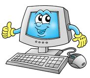 Computer. Color illustration of computer (with hands and face on monitor vector illustration