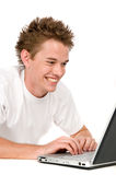On the computer Stock Image