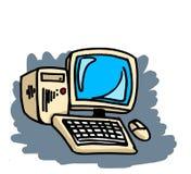 Computer. Hand drawn desk computer illustration Royalty Free Stock Image