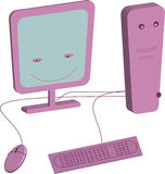 COMPUTER. Happy personal computer with monitori llustration Royalty Free Stock Images