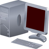 Computer. A computer with tft display stock illustration