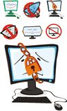 Computer. The of a cartoon scenes computer, symbolizing prohibition on on his(its) use. Restricted access to computer play, inaccessibility, weak knowledges of Royalty Free Stock Photos