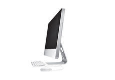 Computer. 3D illustration of a modern computer, keyboard and optical mouse Royalty Free Stock Photo