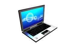 Computer with abstrac screen on a blue background Royalty Free Stock Images