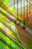 Computer abstract background - green. Mixed media illustration of computer technology background stock illustration